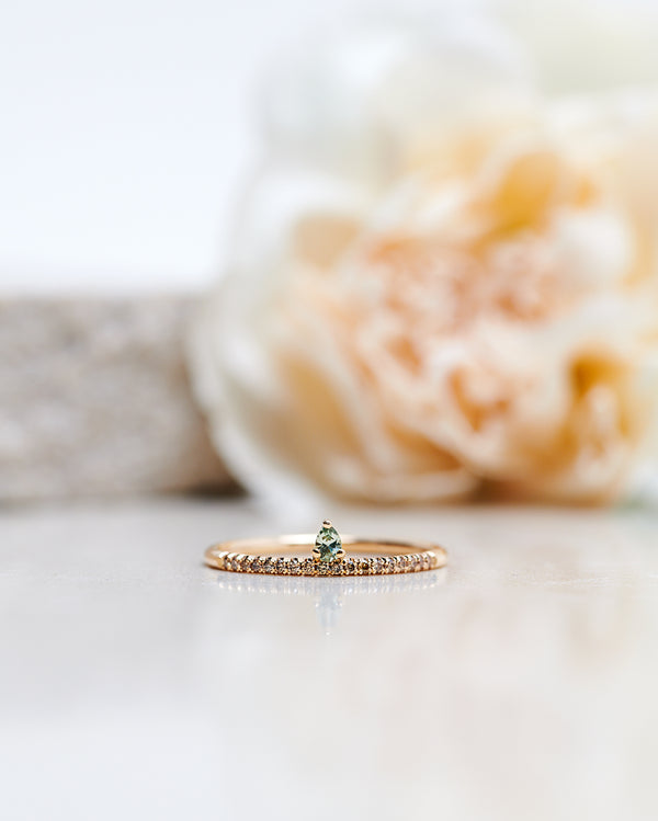 Finished: Lily Tiny Drop Ring with an Olive Green Sapphire Drop and Chocolate Diamond Row