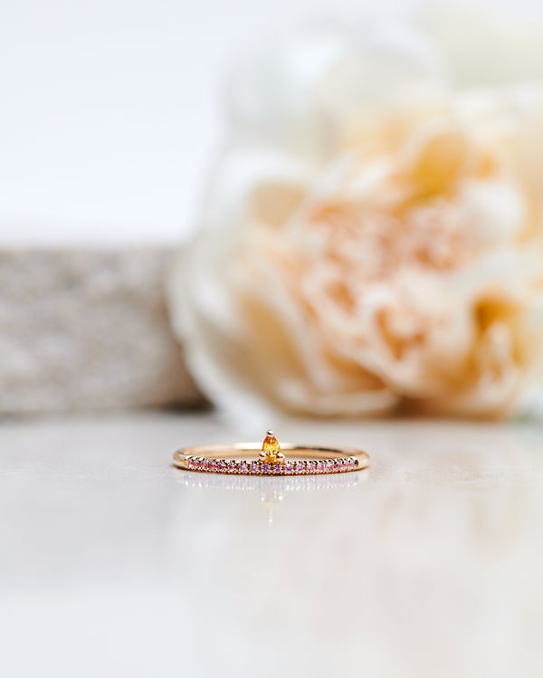 Finished: Lily Tiny Drop Ring with a Yellow Sapphire Drop and Light Pink Sapphire Row