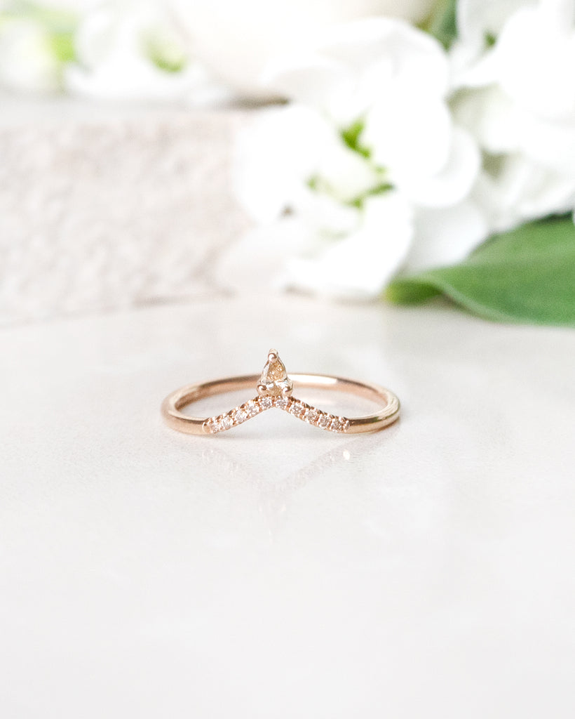Finished: Lily Top Drop Sparkle Ring with Champagne Diamonds In Rose Gold