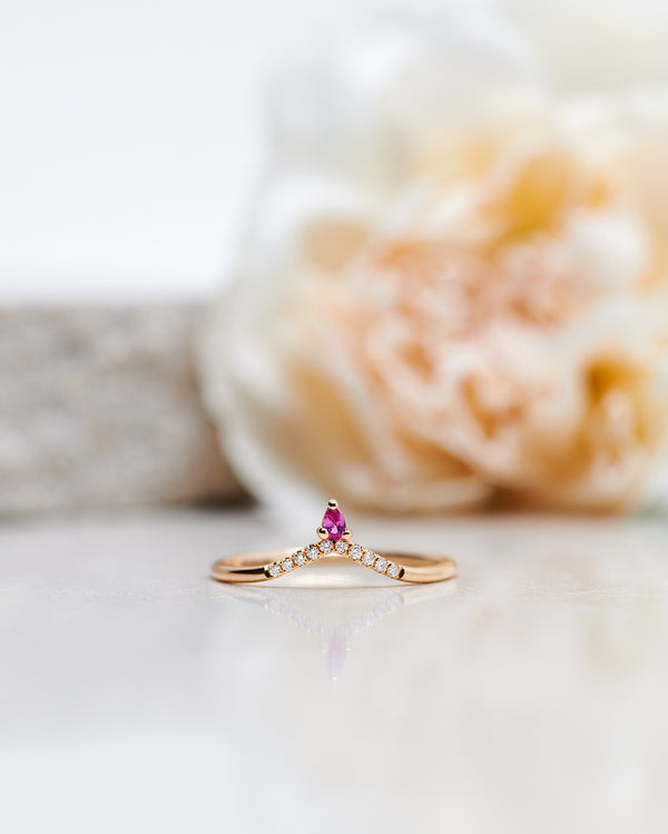 Finished: Lily Top Drop Sparkle Ring with a Hot Pink Sapphire Drop and Diamond Sparkle