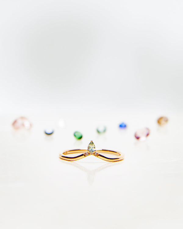 Start Bidding: Lily Top Drop Little Sparkle Ring with Olive Green Sapphire Drop and Chocolate Diamonds