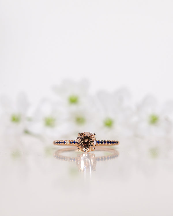 Finished: Low Classic Solitaire Sparkle Ring with Champagne Morganite and Royal Blue Sapphires