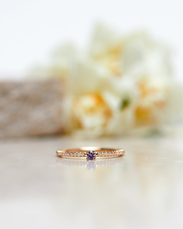 Start Bidding: New Model! Not So Tiny Sparkle Ring with a Lavender Sapphire and Diamond Sparkle - Low Setting
