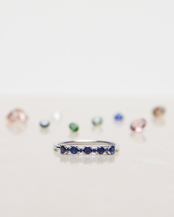 Finished: Mini Brigitte Ring in White Gold with Royal Blue Sapphires