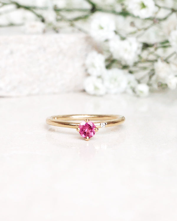Finished: Lucy Petite Ring with a Unique Natural Pink Tourmaline