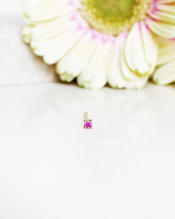 Finished: Hot Pink Sapphire Earstud 1,7 mm (single)