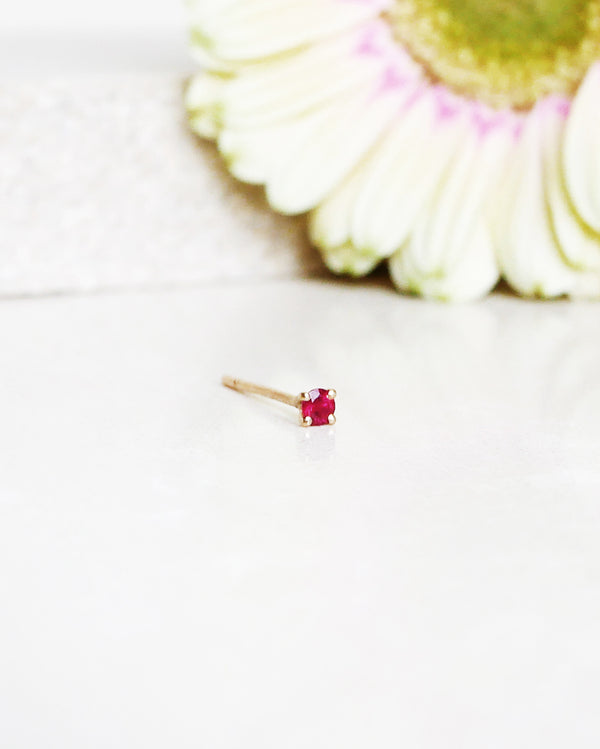 Start Bidding: Not At All Tiny Earpiece with Red Ruby (single)