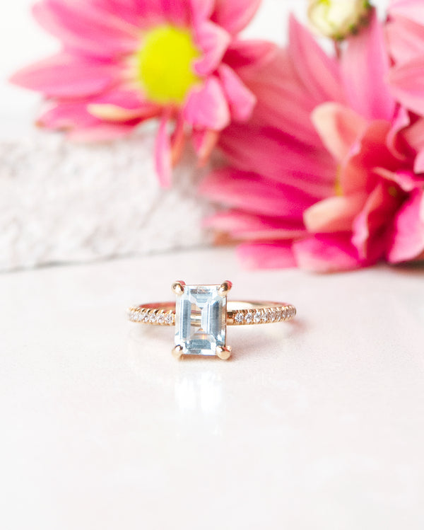 Finished: 1.2 CT Emerald-Cut Aquamarine Sparkle Ring