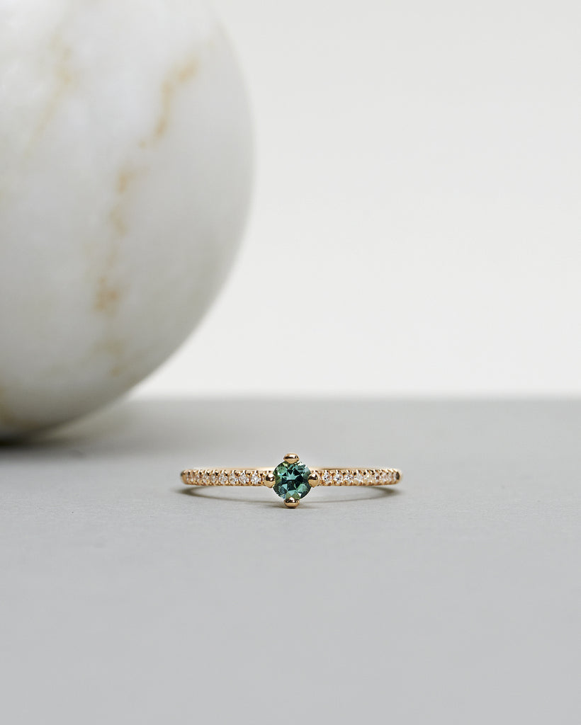 Finished: Not At All Tiny Sparkle Ring with a Limited Edition Sea Green Tourmaline and Diamonds