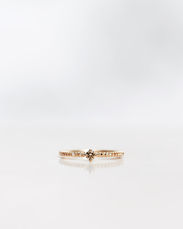 Not So Tiny Sparkle Ring with Champagne Diamonds (Total 0.20 CT)