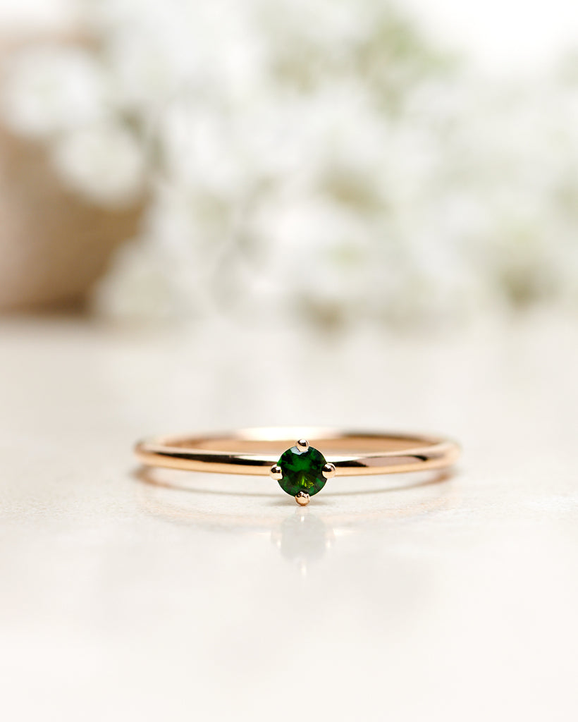 Finished: Not So Tiny Ring with A Dark Green Tourmaline (0.11 CT)