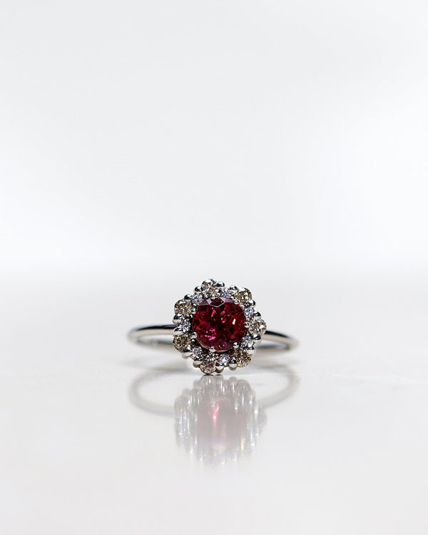 Finished: 24 Hour Auction! One-Of-A-Kind Flower Ring with Rhodolite Garnet and a halo of Champagne Diamonds and Diamonds in White Gold (1.28 CT)
