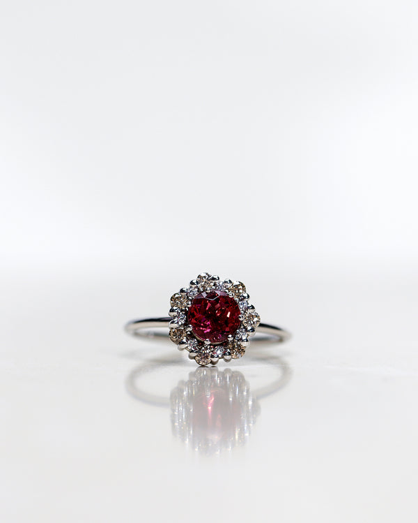 One-Of-A-Kind Flower Ring with Rhodolite Garnet and a halo of Champagne Diamonds and Diamonds in White Gold (1.28 CT)