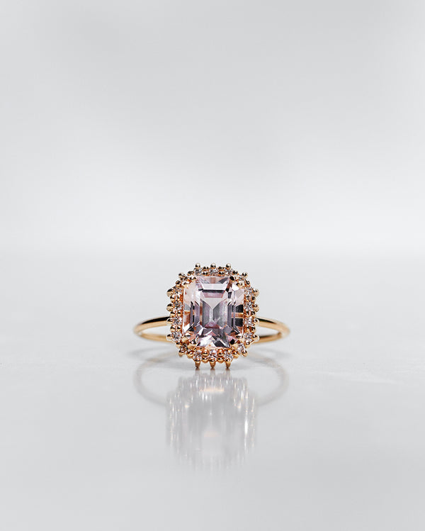 One-Of-A-Kind Morganite Halo Solitaire with Light Pink Morganite and Diamond Halo (Total 2.82 CT)