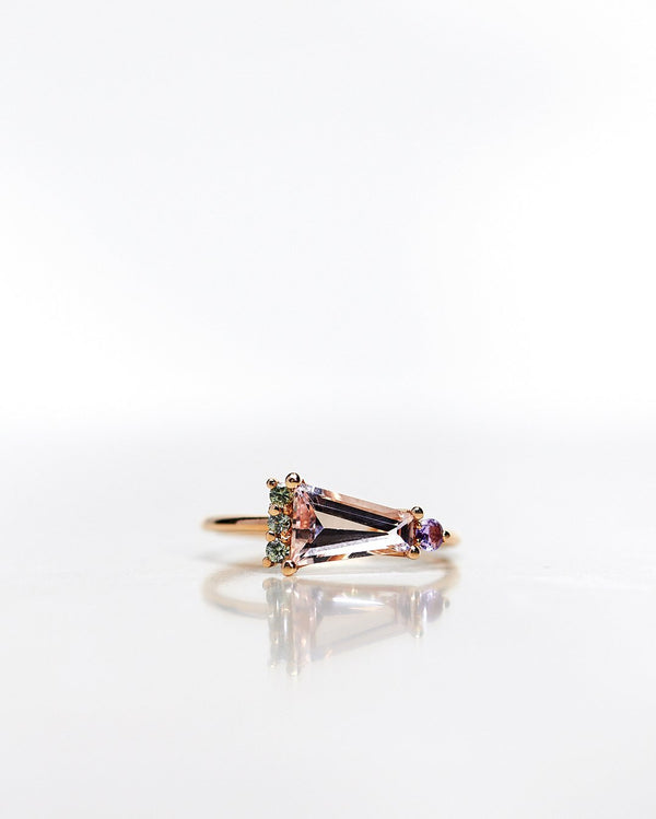 Finished: 24 Hour Auction! One-Of-A-Kind Art Deco Ring with a Trapezoid Cut Morganite, Olive Green Brilliant Sapphires and one Lavender Sapphire (ca 1.21 CT)