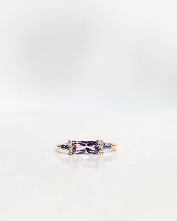 One-Of-A-Kind Cluster Ring with a Repurposed Radiant-Cut Lavender Sapphire, Light Blue Brilliant Sapphires and Brilliant Diamonds (1.18 CT)