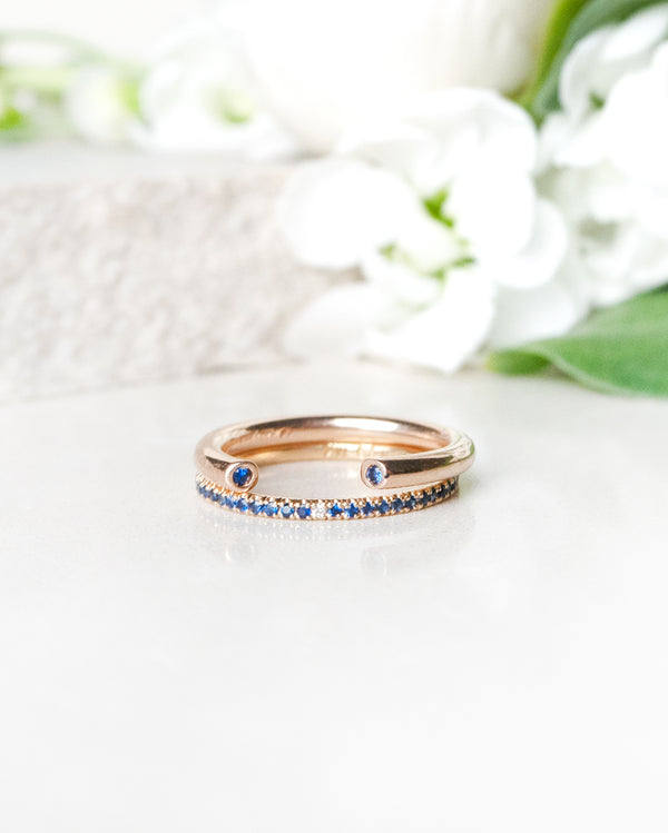 Finished: Open Gem Ring in Rose Gold with Royal Blue Sapphires