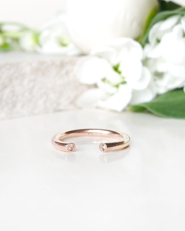 Finished: Open Gem Ring in Rose Gold with Champagne Diamonds
