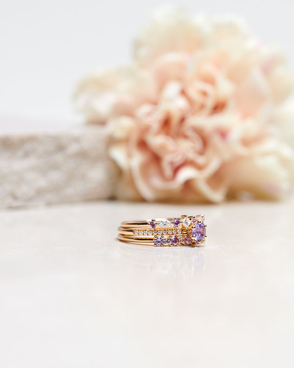 Finished: Hilda Ring with Lavender Sapphires and Diamonds