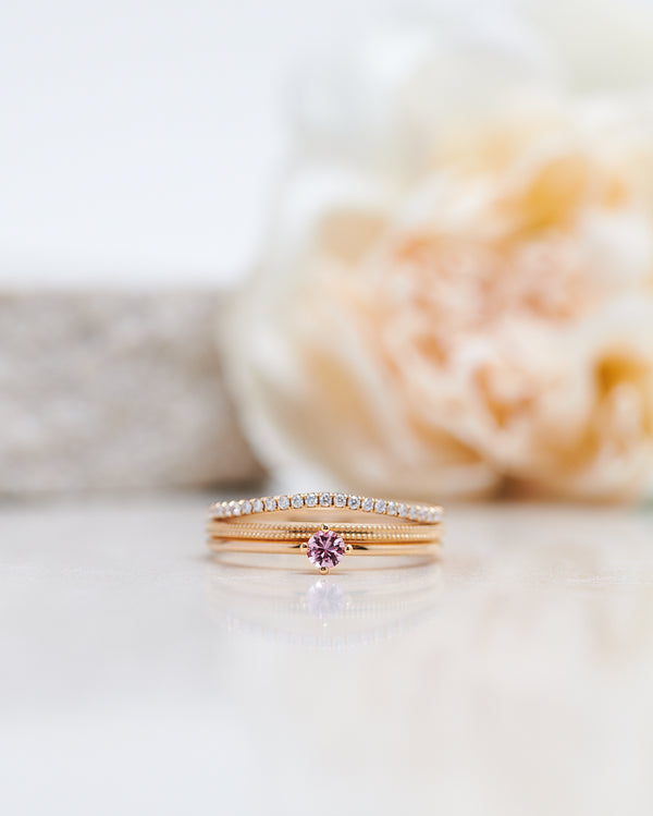 Finished: Not So Tiny Diamond Ring with a Light Pink Sapphire