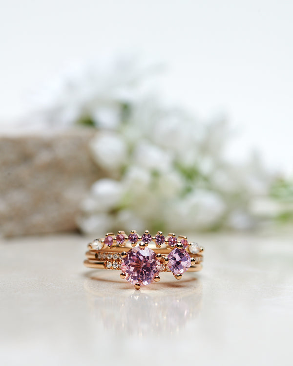 Finished: Solitaire Petite Little Sparkle Ring with Light Pink Morganite and Diamonds