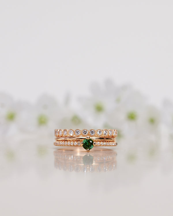 Finished: Not At All Tiny Sparkle Ring with a Dark Green Tourmaline and Diamonds