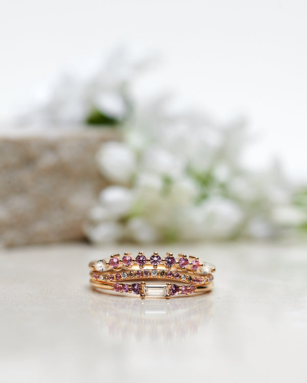 Finished: Mini Baguette Brilliant Diamond Cluster Ring with a Baguette Diamond and Light Pink Sapphires