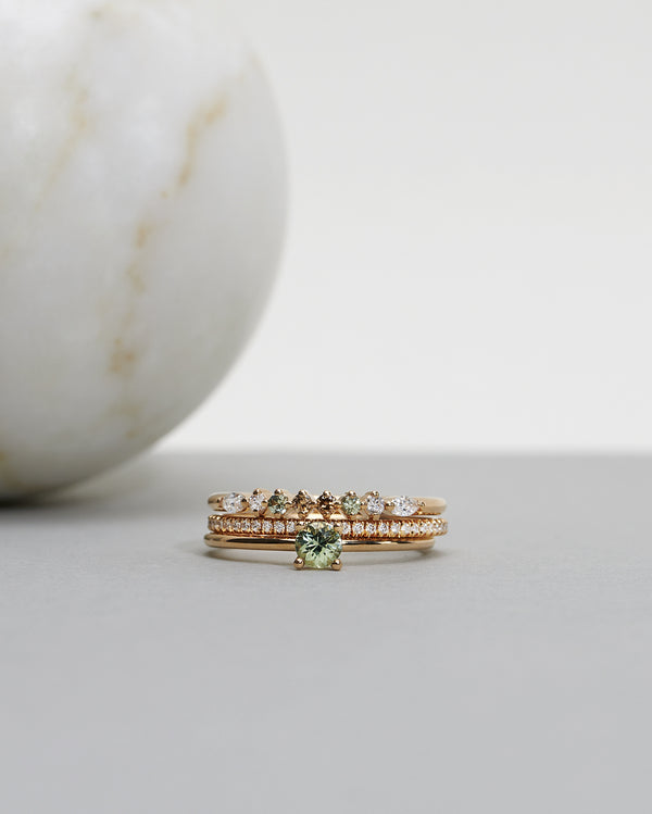 Start bidding: Brand New Model!: Idun Straight Diamond Band with Diamonds TWVS, Olive Green Sapphires and Chocolate Diamonds