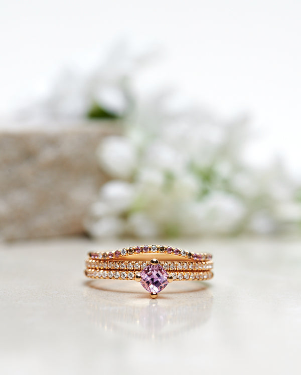Finished: Not At All Tiny Sparkle Ring with a Squared Cushion Cut Pink Sapphire and Diamonds