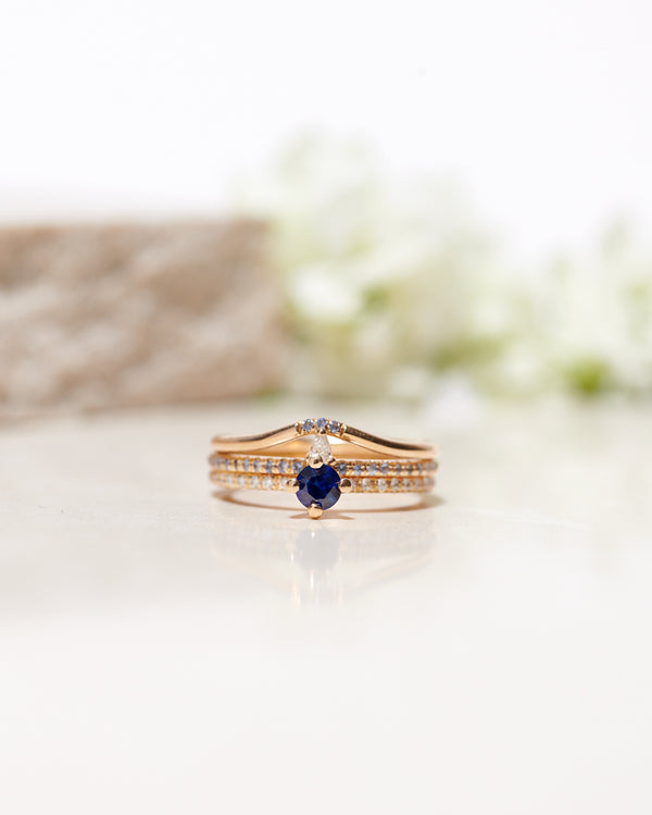 Finished: Not At All Tiny with Royal Blue Sapphire 0.30 CT and Diamond Sparkle