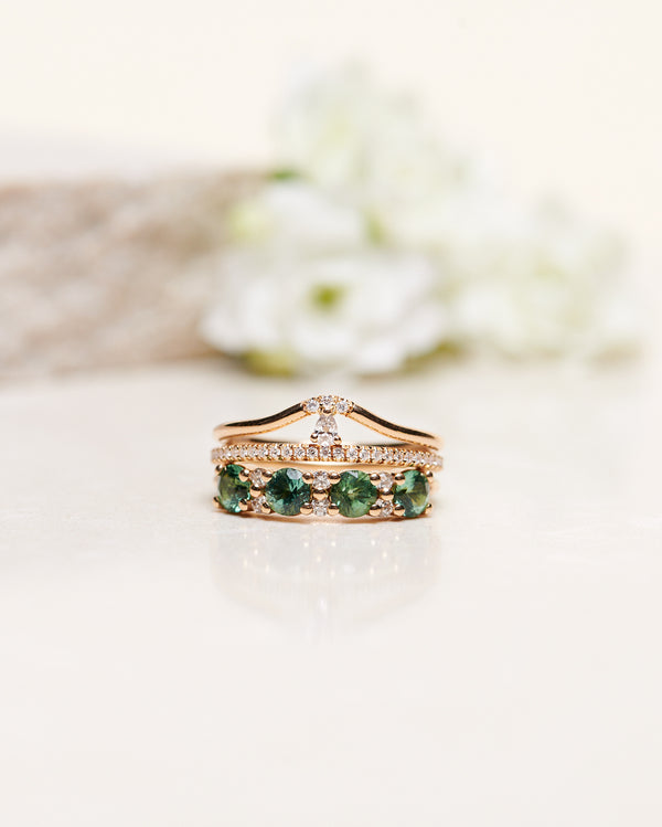 Finished (Brand New): Anita Ring with Diamonds and Unique Sea-Green, Limited Edition Tourmalines