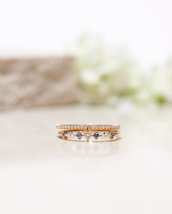 Start Bidding: Hilda Ring with Light Blue Sapphires and White Diamonds