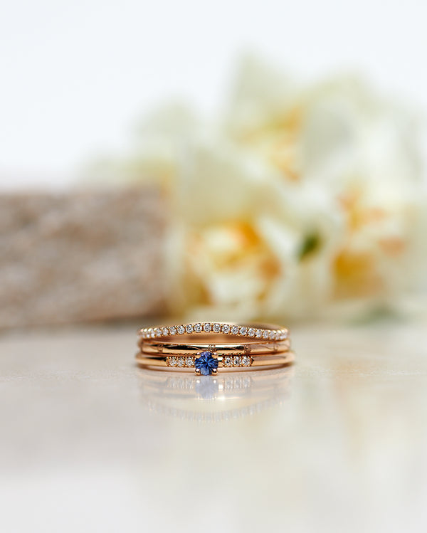 Start Bidding: New Model! Not So Tiny Little Sparkle Ring with a Light Blue Sapphire and Diamonds - Low Setting