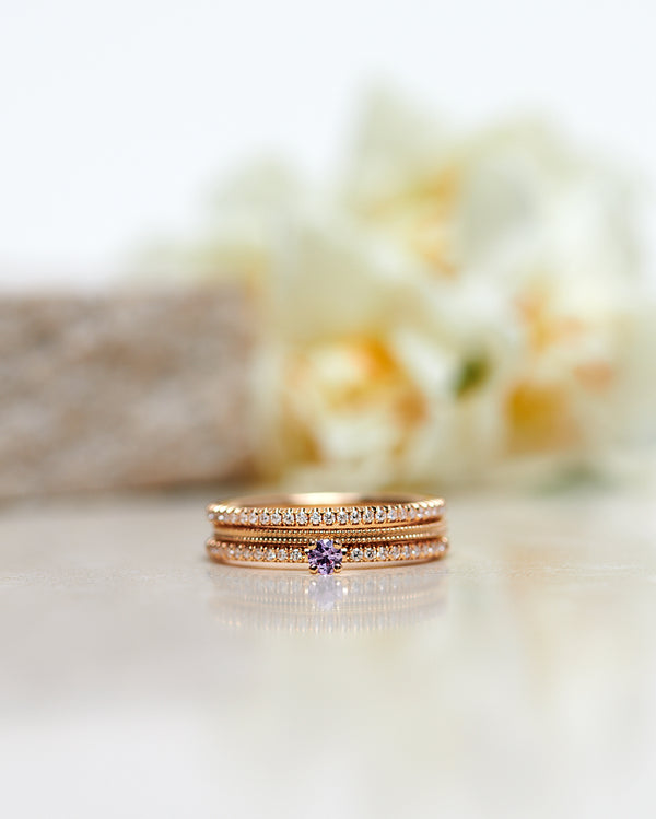 Finished: New Model! Not So Tiny Sparkle Ring with a Lavender Sapphire and Diamond Sparkle - Low Setting