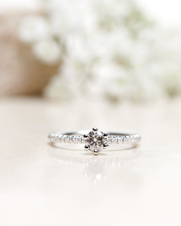 Finished: Solitaire Petite Sparkle with a Natural Grey Diamond and White Diamond Sparkle (Total 0.40 CT)