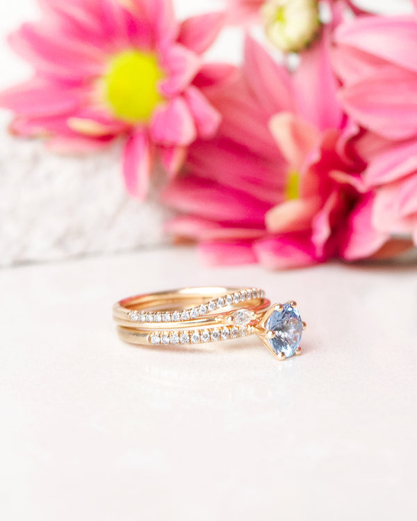 Finished: Solitaire Sparkle with a 1 CT Natural Light Blue Sapphire and Diamonds