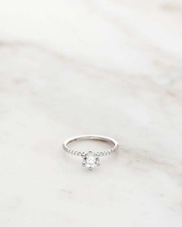 Solitaire Petite Sparkle Ring with an 0.50 CT Centre Diamond in White Gold