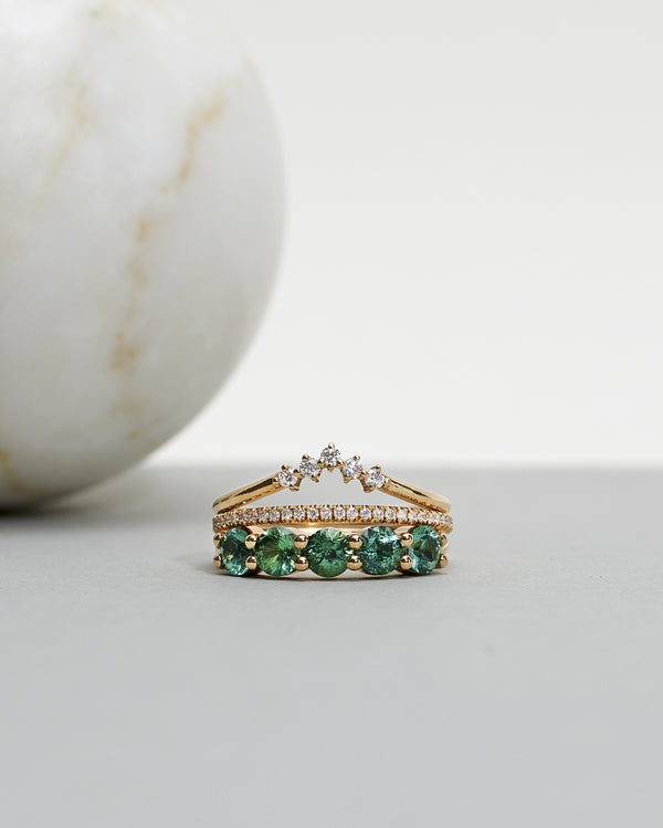 Finished: Angel Ring with Limited Edition Sea Green Tourmalines