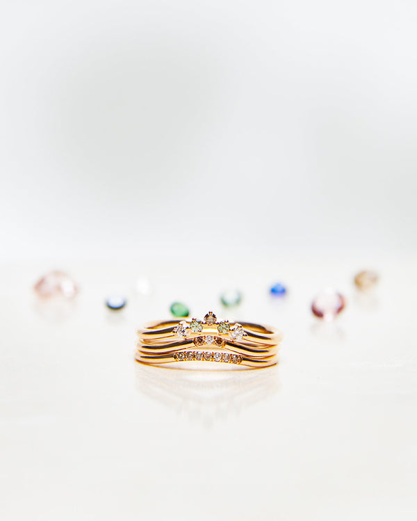 Start Bidding: Jade Petite Wave Enough Ring with Chocolate Diamonds and one Diamond