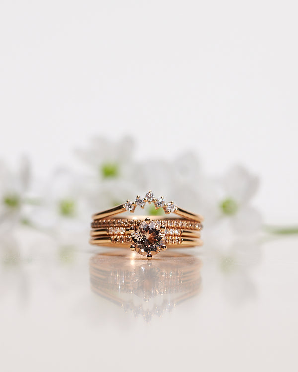 Finished: Solitaire Petite Little Sparkle Ring with Champagne Morganite and Chocolate Diamonds