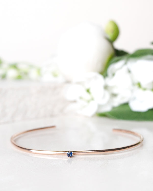 Finished: Tiny Diamond Cuff in Rose Gold with Royal Blue Sapphire