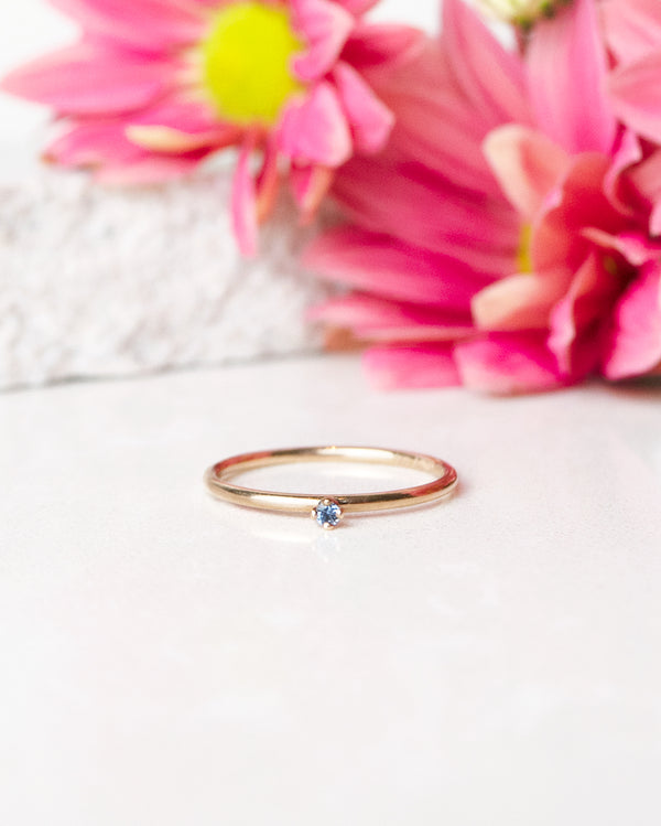 Finished: Tiny Diamond Ring with Light Blue Sapphire