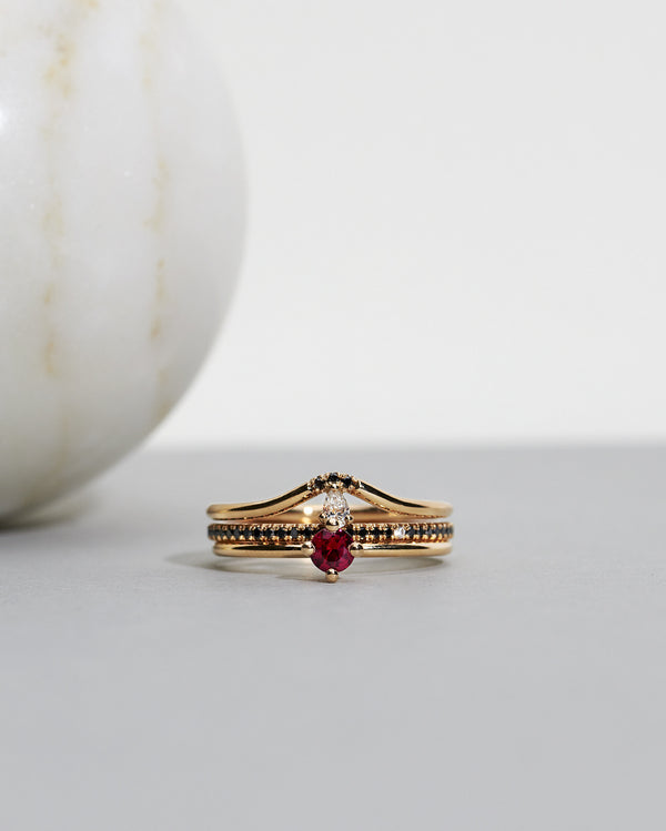 Start bidding: Not At All Tiny Diamond Ring with a Red Ruby