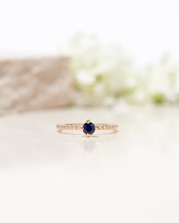 Start Bidding: Not At All Tiny with Royal Blue Sapphire 0.30 CT and Diamond Sparkle
