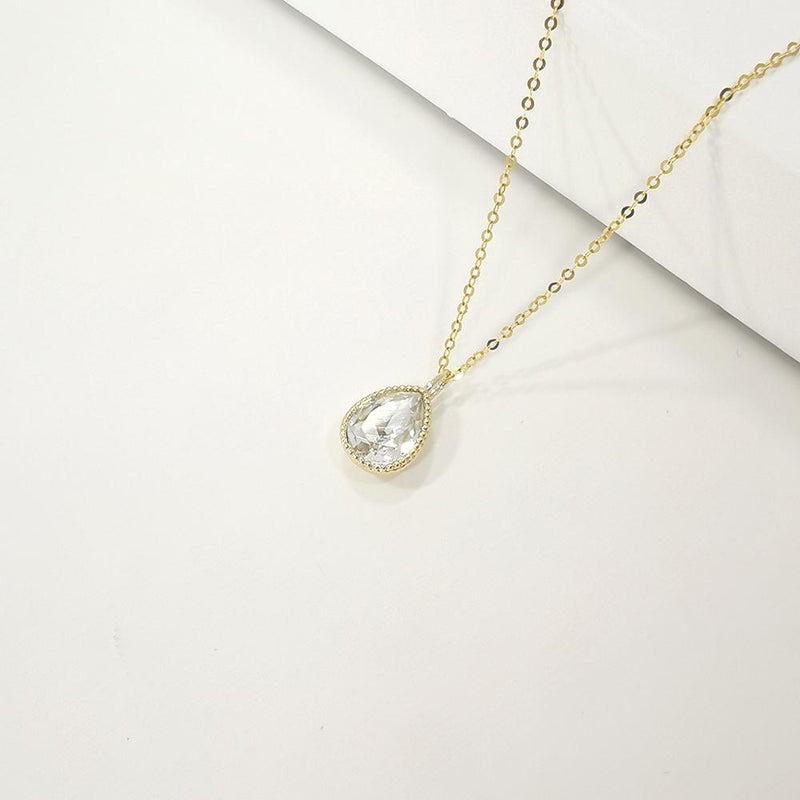 9K Yellow Gold Pear Crystal Necklace