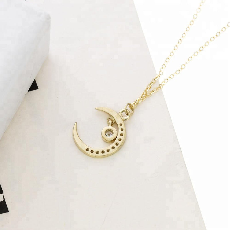 14K Yellow Gold Moon Necklace