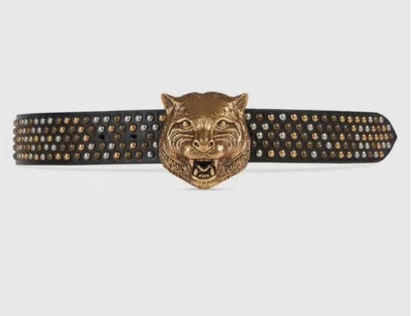d6b970d7aac Gucci Leather Belt with Feline buckle and Studs – DopeATLaccessory