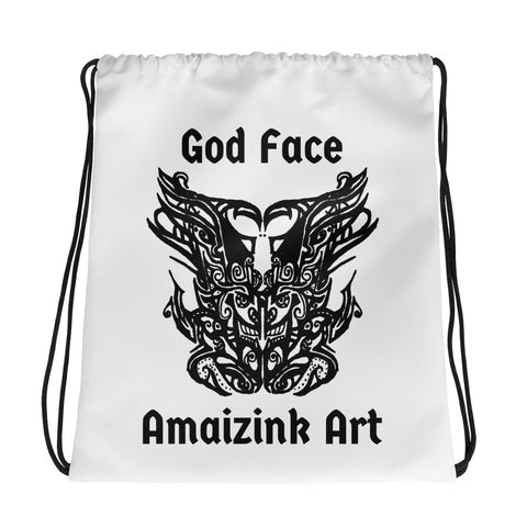 God Face Drawstring bag