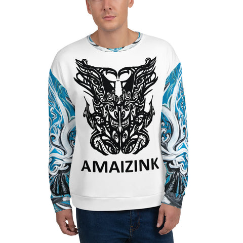Godface/Blue Emotive Unisex Sweatshirt