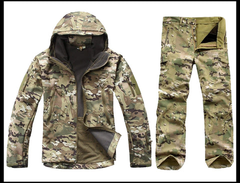 670d576a295 Tactical Soft Shell Camouflage Jacket Set Men Army Waterproof Warm Camo  Clothes Military Fleece Coat Windbreaker Clothing Suit